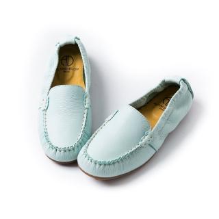 【ALAIN DELON】真皮素面休閒平底鞋A76103(2色      藍色   淺藍色)