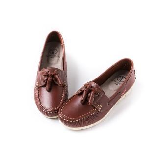 【ALAIN DELON】真皮綁帶帆船鞋A76105(4色   藍色 桔色 棕色  紅色)