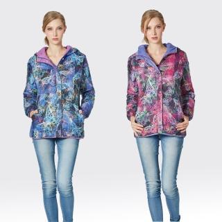 【SAMLIX山力士】JIS90%女3D炫彩數位印花兩面穿防潑水羽絨外套#37416(桃紫.藍紫)