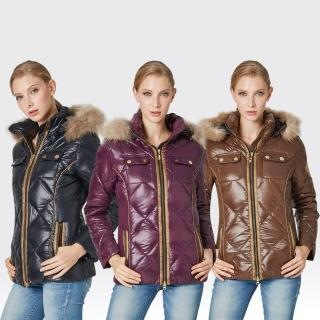 【SAMLIX山力士】JIS90%女歐風時尚防潑水羽絨外套#37812(咖啡.黑色.紫色)
