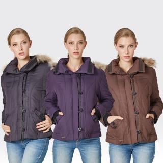 【SAMLIX山力士】JIS90%女歐風時尚防潑水羽絨外套#38812(咖啡.黑色.紫色)