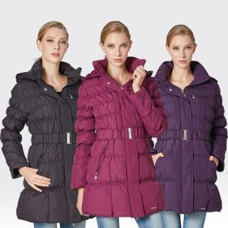 【SAMLIX山力士】JIS90%女歐風時尚防潑水羽絨外套#38912(紫紅.黑色.紫色)
