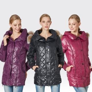 【SAMLIX山力士】JIS90%女時尚菱格紋防潑水羽絨外套#33012(桃紅.黑色.紫色)