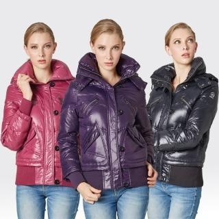 【SAMLIX山力士】JIS90%女俏麗時尚防潑水羽絨外套#34211(黑色.紫色.桃紅)