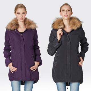 【SAMLIX山力士】JIS90%女俏麗時尚防潑水羽絨大衣#324(黑色.紫色)
