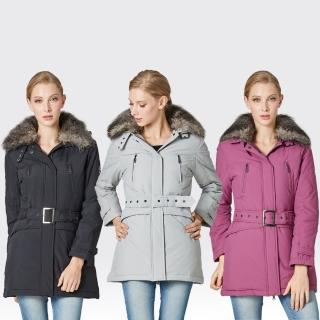 【SAMLIX山力士】JIS90%女俏麗時尚防潑水羽絨外套#34811(灰色.黑色.紫色)