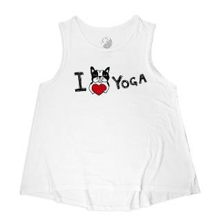 【AKUMA YOGA】親膚自在傘狀背心 白-波士頓犬Abula-I Love Yoga(台灣設計師原創瑜珈系列)