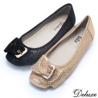 【Deluxe】全真皮復古皮帶鏤空娃娃鞋(黑-金)