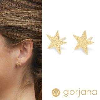 【GORJANA】美國品牌 精緻手工波浪紋幸運星星鑲18K金耳環(波浪紋幸運星星)