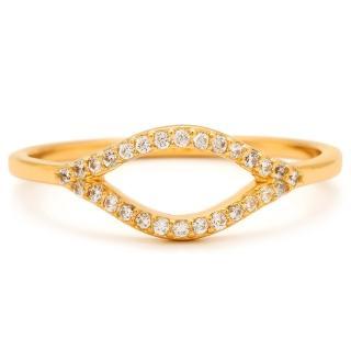 【GORJANA】馬眼 鑲細緻白鑽 金色戒指 鍍18K金(馬眼鑲細緻白鑽)