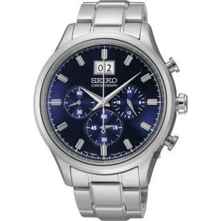 【SEIKO】精工 CS爵士大日期視窗計時腕錶-藍/42mm(7T04-0AE0L  SPC081P1)
