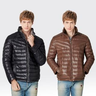 【SAMLIX山力士】JIS90%男率性時尚防潑水羽絨外套#67416(黑色.咖啡)