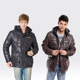 【SAMLIX山力士】JIS90%男率性時尚防潑水羽絨外套#63711(黑色.咖啡)