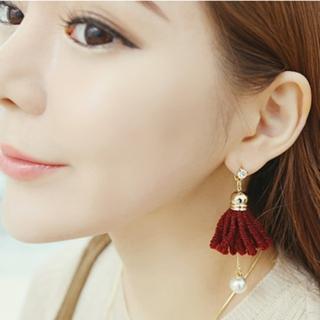 【梨花HaNA】韓國手感雙面毛線織法花卉珍珠耳環
