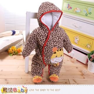 【魔法Baby】嬰兒保暖連身衣 加厚鋪棉極暖連帽包腳連身衣(k60274)