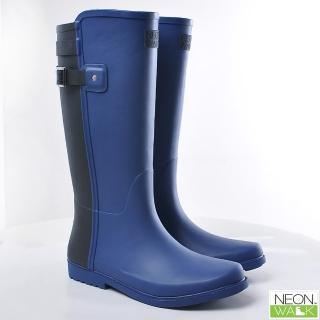 【Neon Walk 尼沃】長筒撞色雨靴-藍撞黑色(雨鞋 雨靴 長筒雨靴 高筒靴)