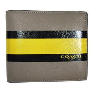 【COACH】條紋時尚牛皮短夾(卡其黃)