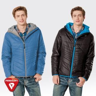 【SAMLIX山力士】PRIMALOFT男輕量化防潑水保暖外套#66915(藍灰.黑藍)