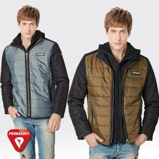 【SAMLIX山力士】PRIMALOFT男假兩件式輕量化防潑水保暖外套#67515(卡其.灰綠)