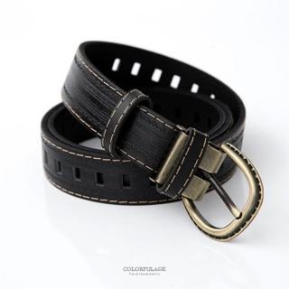 皮帶 亮面黑色車線簡約復古銅扣壓紋皮帶腰帶 復古風格 型男百搭單品(玖飾時尚)