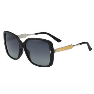 【GUCCI】-皇室風格紋路 太陽眼鏡(黑色)
