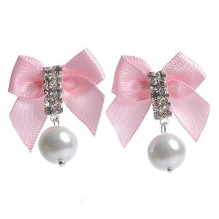 【Lady c.c.】純靜的愛鑽石透明耳環(粉)