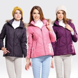【SAMLIX山力士】JIS90%女歐風時尚防潑水羽絨外套#38012(黑色.紫色.粉紅)