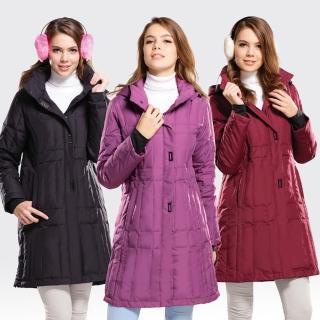 【SAMLIX山力士】JIS90%女歐風時尚防潑水羽絨外套#37011(黑色.酒紅.淺紫)