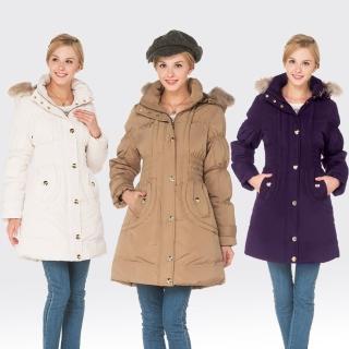 【SAMLIX山力士】JIS90%女歐風時尚防潑水羽絨外套#32911(卡其.白色.紫色)
