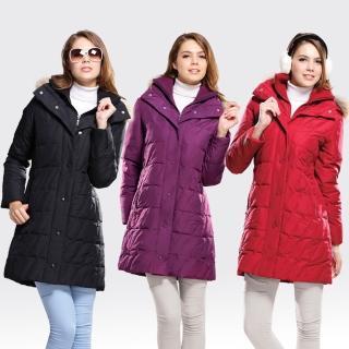 【SAMLIX山力士】JIS90%女歐風時尚防潑水羽絨外套#333(紅色.黑色.紫色)