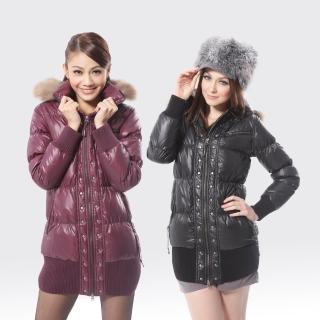 【SAMLIX山力士】JIS90%女歐風時尚防潑水羽絨外套#373(黑色.紫色)