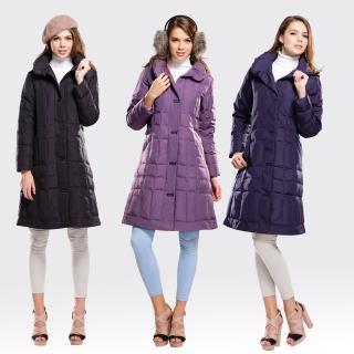 【SAMLIX山力士】JIS90%女歐風時尚防潑水羽絨大衣#1065(淺紫.黑色.深紫)
