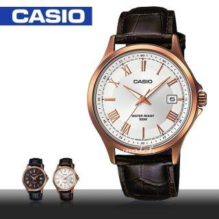 【CASIO 卡西歐】簡約時尚_皮革錶帶_防水_礦物玻璃_羅馬數字_日期顯示_男錶(MTP-1383RL)