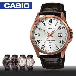 【CASIO 卡西歐】型男精選_皮革錶帶_日期顯示_防水_礦物玻璃_指針男錶(MTP-1376RL)