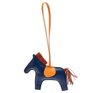 【HERMES】RODEO GM 馬兒造型拼色小羊皮鑰匙圈/吊飾(大-藏藍X橙色H064931CA-DEEP BLUE-ORA)
