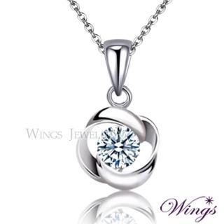 【WINGS】幾何時尚 進口方晶鋯石精鍍白K金項鍊(吊墜 頸鍊)