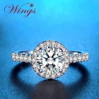【WINGS】燦星 經典環鑽時尚款 八心八箭精鍍白金戒指(女戒 鋯鑽 擬真鑽 單鑽)