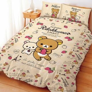 【享夢城堡】拉拉熊 巴黎草莓系列-精梳棉雙人床包兩用被組