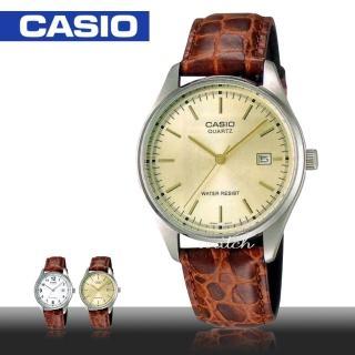 【CASIO 卡西歐】簡約時尚_防水_皮革錶帶_礦物玻璃_日期顯示_指針男錶(MTP-1175E)