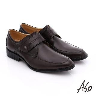 【A.S.O】挺力氣墊 小牛皮魔鬼氈奈米氣墊皮鞋(咖啡)