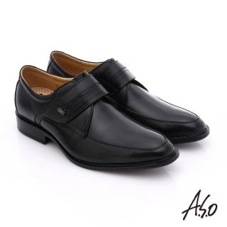 【A.S.O】挺力氣墊 小牛皮魔鬼氈奈米氣墊皮鞋(黑)