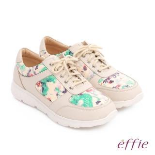 【effie】輕量抗震 義大利花皮綁帶奈米休閒鞋(米)