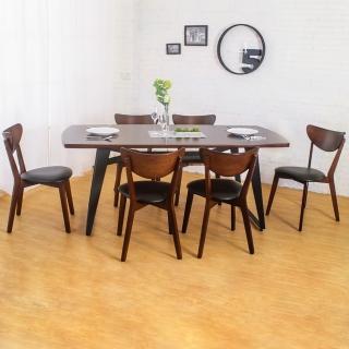【Bernice】諾曼工業風實木餐桌椅組(一桌六椅)