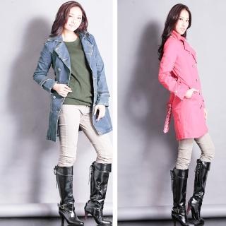 【RH】率性保暖百褡長版牛仔外套(雙排扣牛仔大衣全尺碼上架)