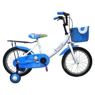 【Adagio】16吋大頭妹打氣胎童車附置物籃-白藍(台灣製造)