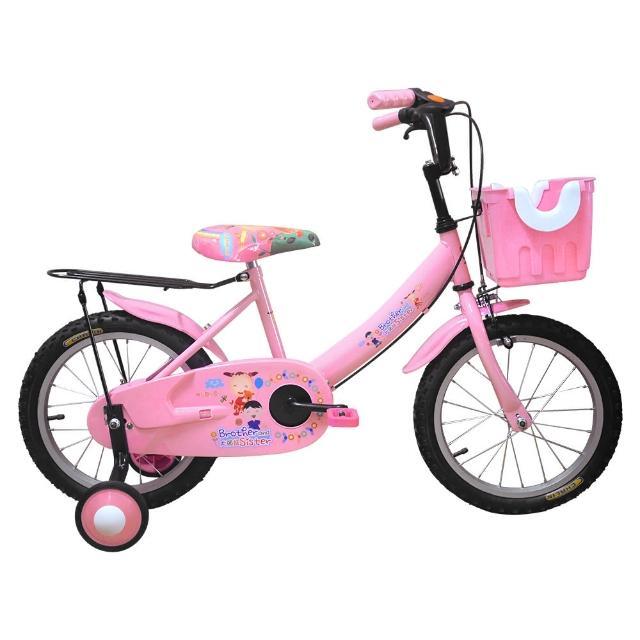【Adagio】16吋大頭妹打氣胎童車附置物籃-粉色(台灣製造)