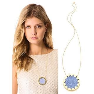 【House of Harlow 1960】好萊塢品牌 藍色珍珠魚皮革太陽神圓形金項鍊(珍珠魚皮革)