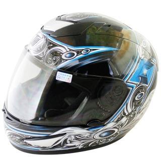 【THH】翅膀可掀式全罩安全帽TS41A-黑藍+新一代免洗安全帽內襯套6入(12H)