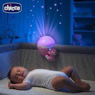 【chicco】Next 2 Me專用星星投射晚安熊-粉紅