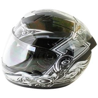 【THH】翅膀可掀式全罩安全帽TS41A-黑銀+新一代免洗安全帽內襯套6入(12H)